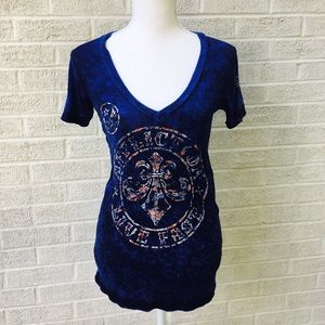 Affliction Distressed V Neck Tee Shirt Size Small